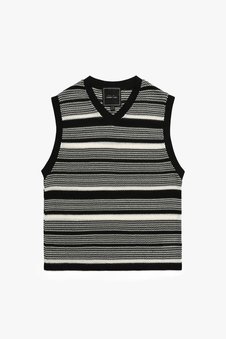 Monotone V neck Knit Vest