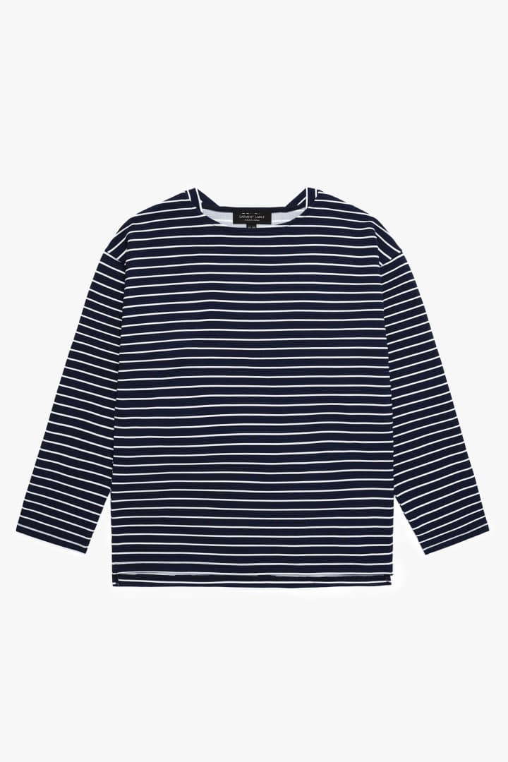 Boatneck Stripe Sleeve Tee Navy