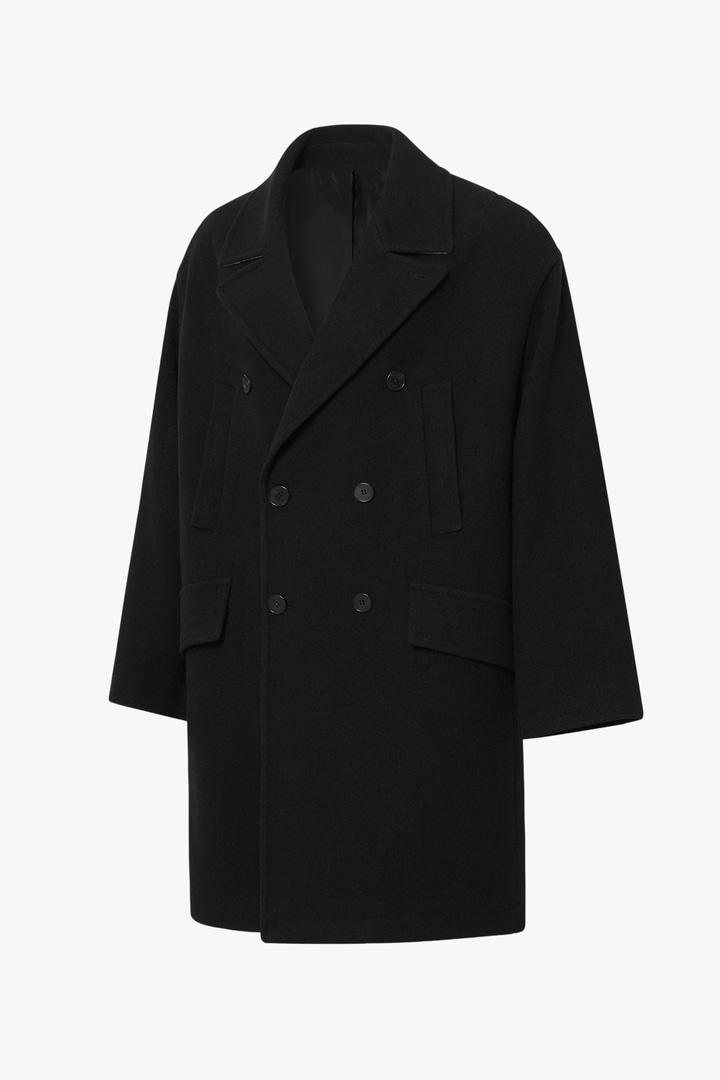 Cashmere Over Pea Coat - Black