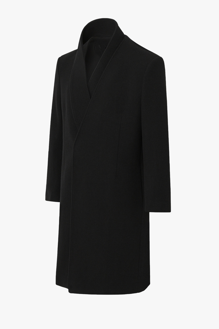 Cashmere Collarless Coat - Black