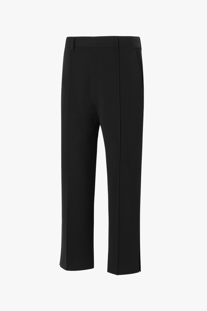 Banding Side Slit Slacks - Black