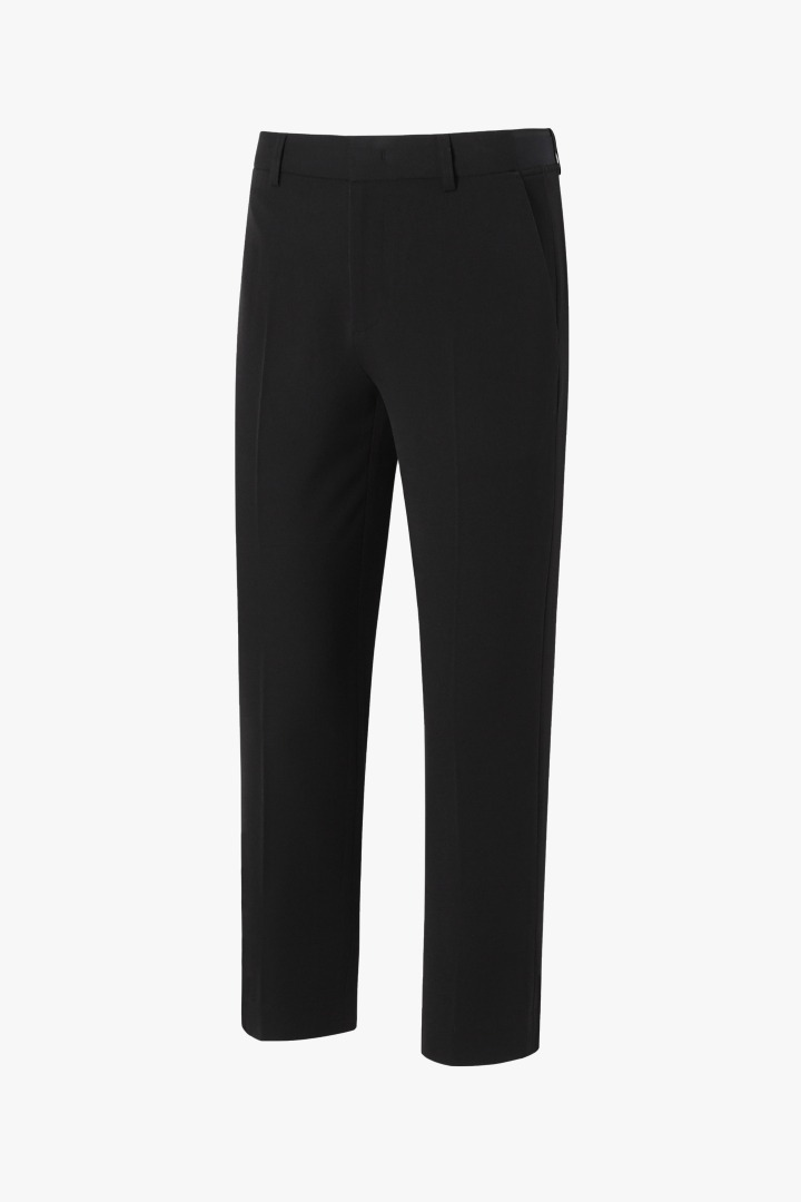 Banding Zipper Tapered Slacks - Black