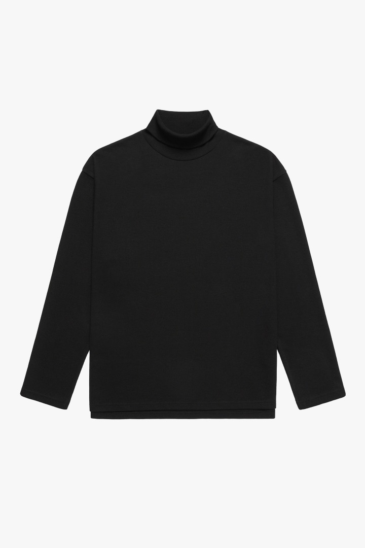 Knit Turtle Neck Sleeve Tee - Black