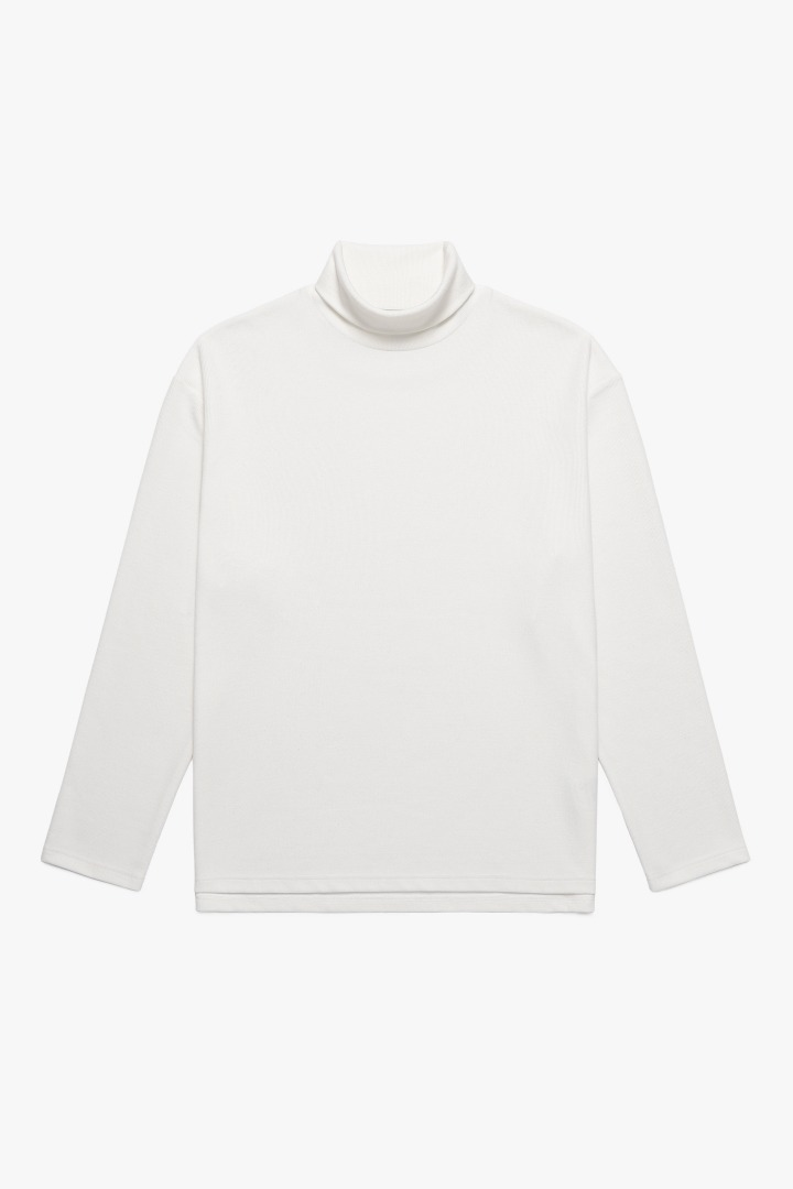 Knit Turtle Neck Sleeve Tee - Ivory