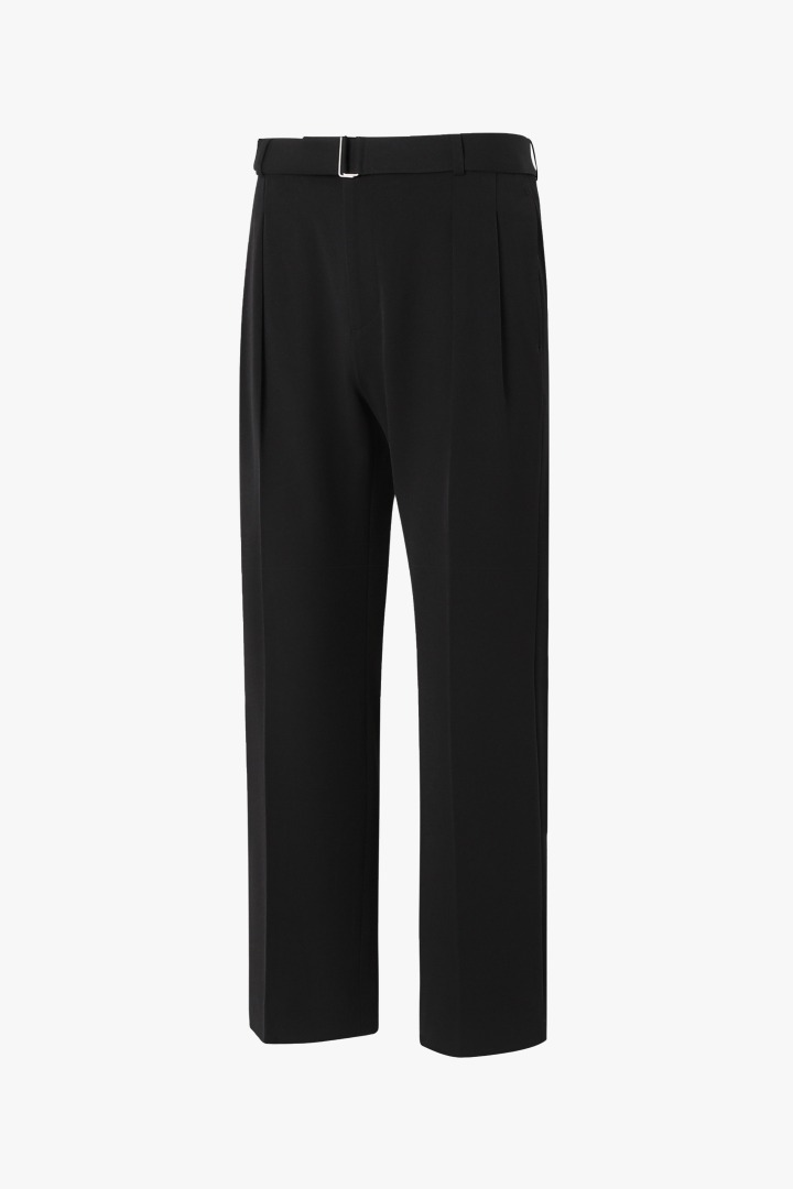 Strap Wide Slacks - Black