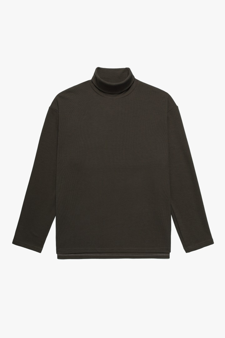 Knit Turtle Neck Sleeve Tee - Brown