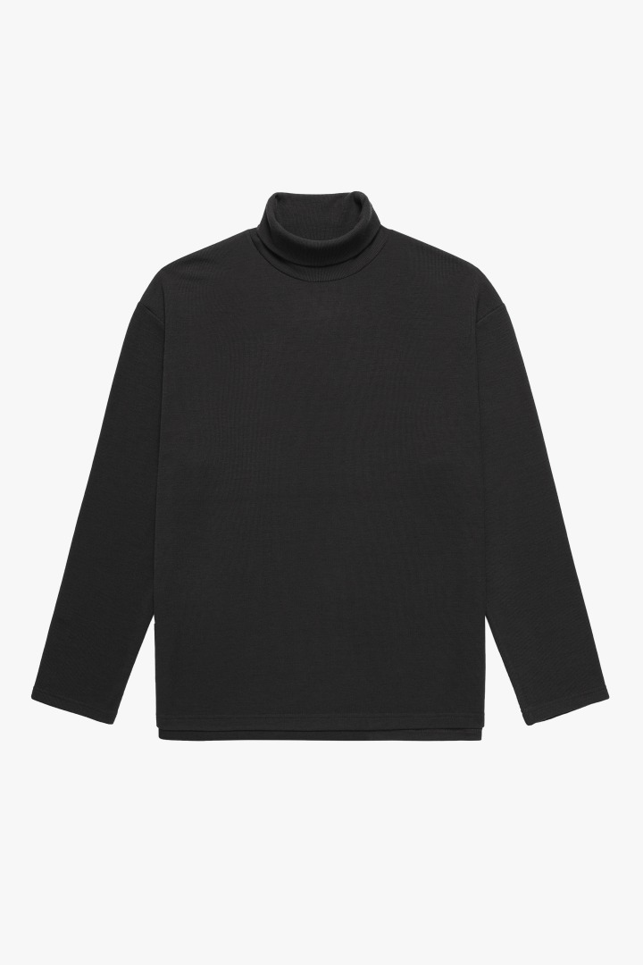 Knit Turtle Neck Sleeve Tee - Charcoal