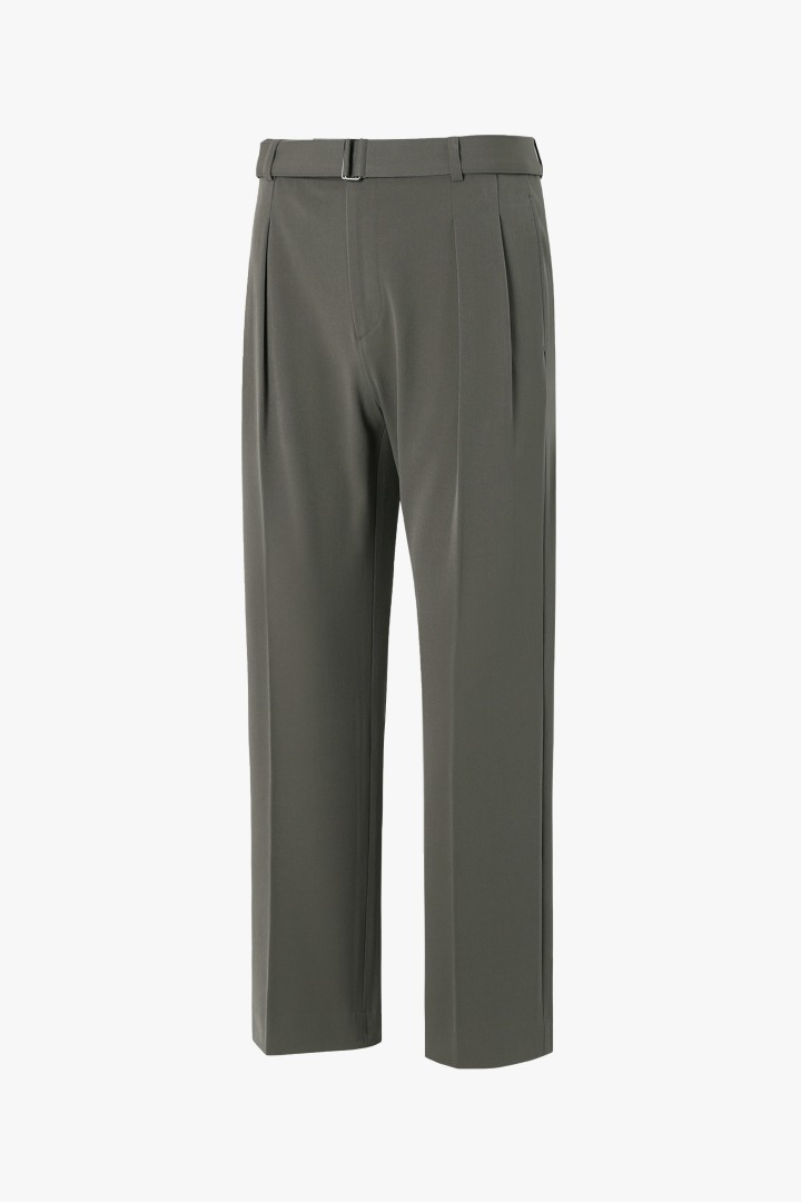 Strap Wide Slacks - Khaki Brown
