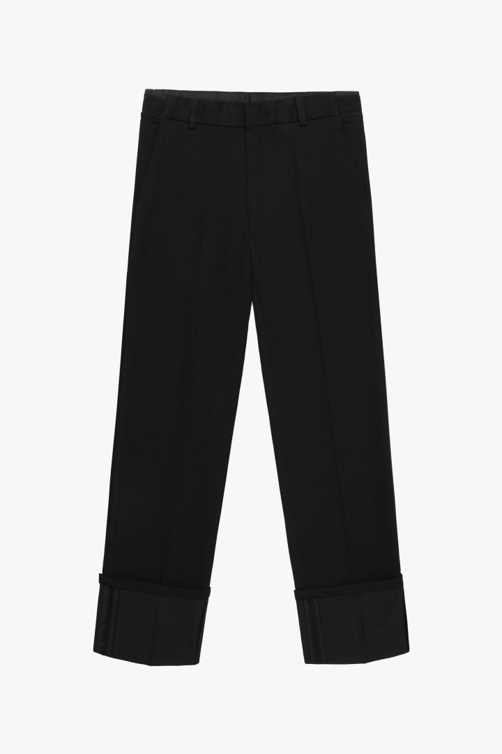 Banding Turn up Wide Slacks - Black