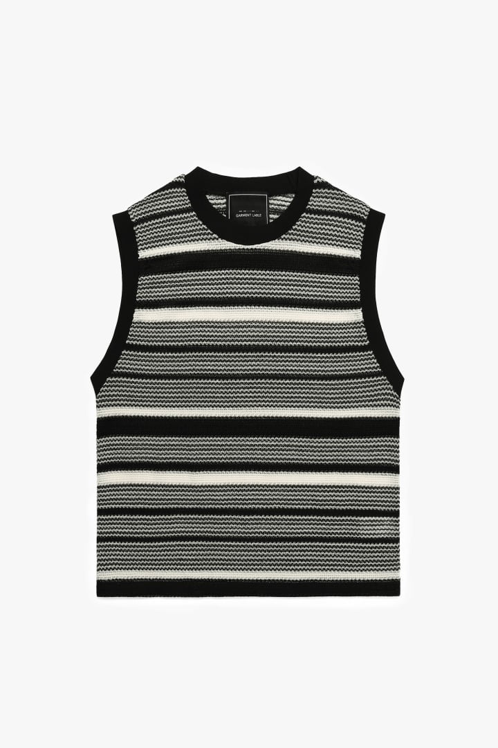 Monotone R neck Knit Vest