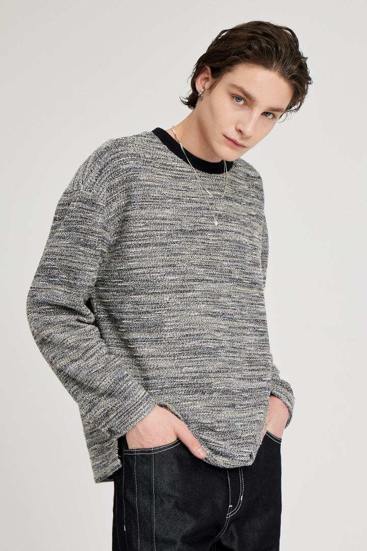 Boucle Long Sleeve Tee - Grey