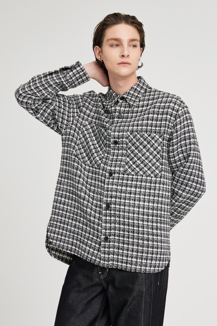 GL Tweed Shirts Jacket - Black