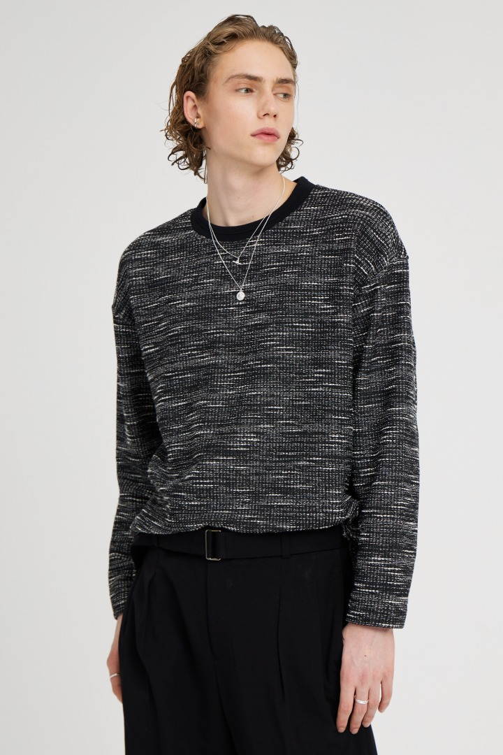 Boucle Long Sleeve Tee - Black