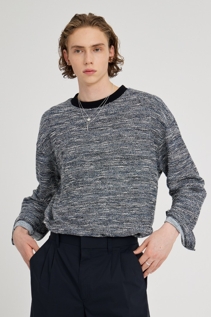 Boucle Long Sleeve Tee - Blue
