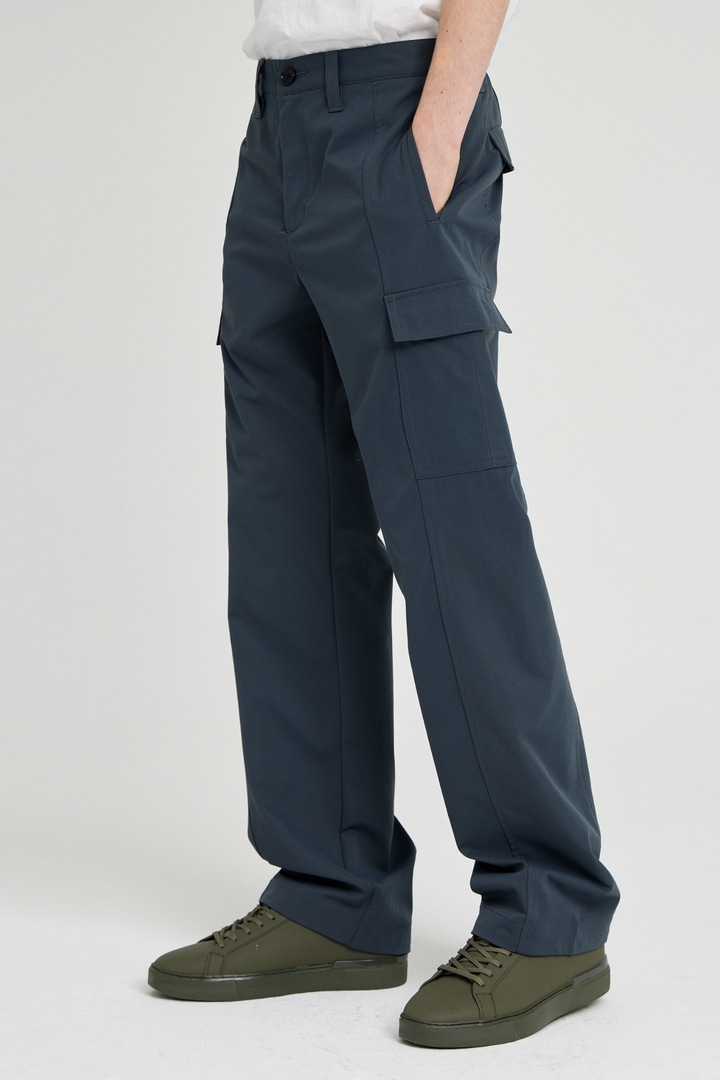 Wide Twill Cargo Pants - Charcoal