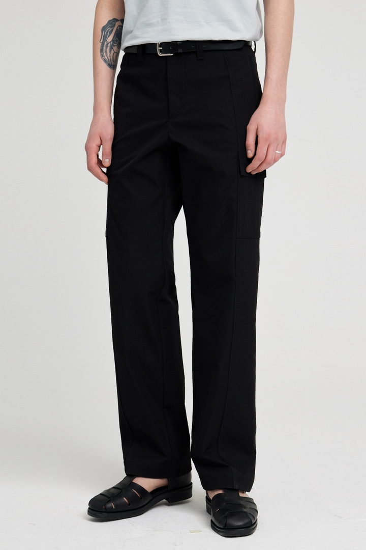 Wide Twill Cargo Pants - Black