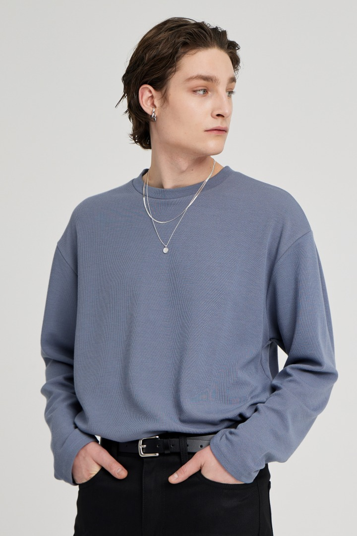 Knit Long Sleeve Tee - AshBlue