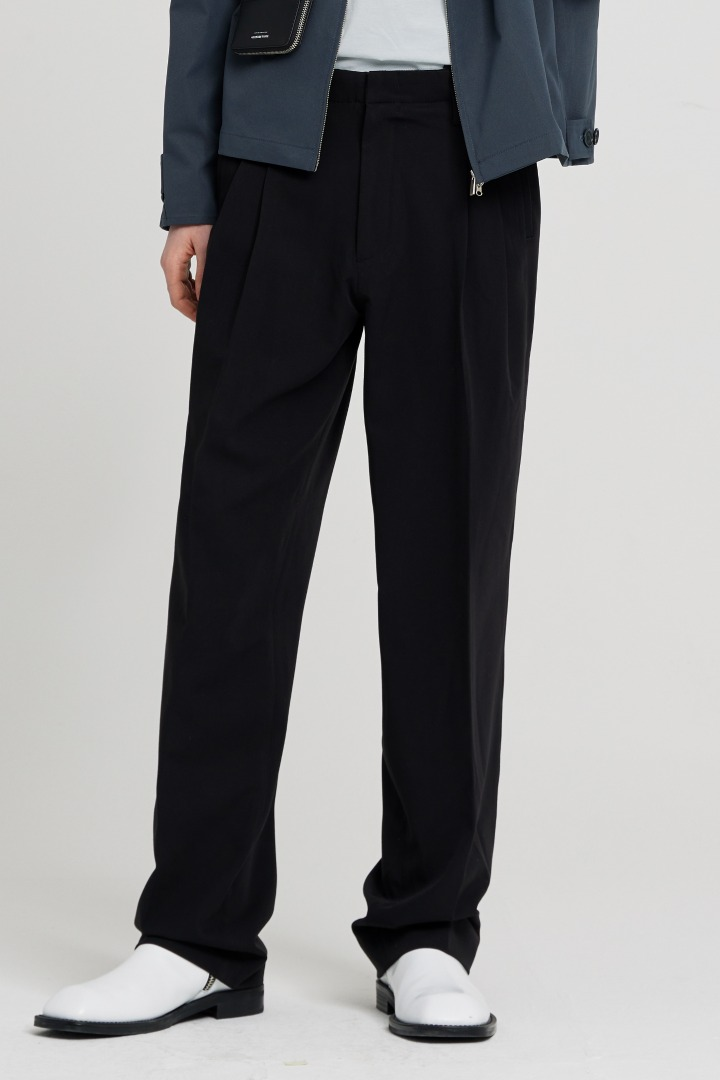 Side cut Wide Slacks - Black
