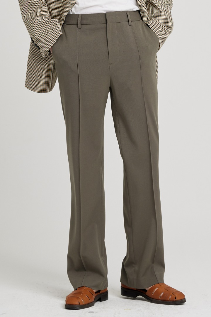 Banding Flare Slacks - Khaki Brown